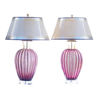 Vintage Murano Cranberry Glass Lamps For Sale