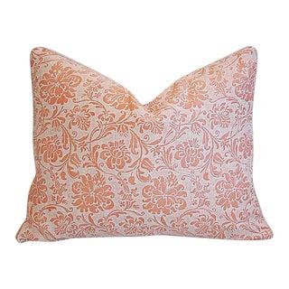 """Italian Fortuny Cimarosa & Velvet Feather/Down Pillow 23"""" X 18"""" For Sale"""