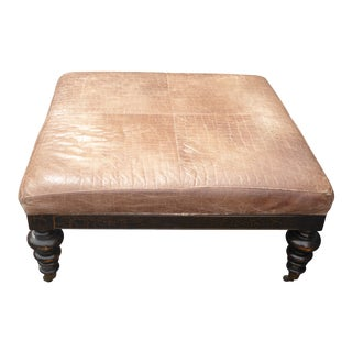 Vintage Sam Moore Brown Embossed Leather Carved Wood Foot Ottoman on Castors For Sale