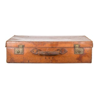 Monogrammed Leather Suitcase With Brass Locks C.1940 For Sale
