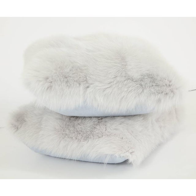 Gray Fur Pillows - A Pair For Sale - Image 4 of 4
