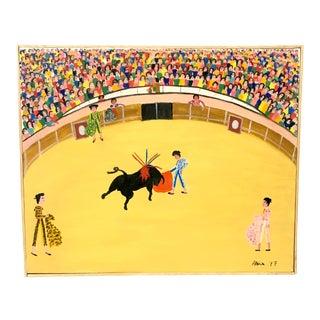 Mexican Folk Art Bullfighter Painting