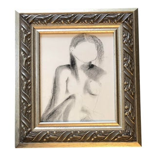 Original Vintage Female Nude Modernist Charcoal Study Drawing For Sale