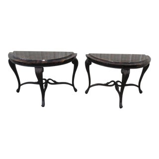 Mid Century Regency Style Demilune Console Tables - a Pair For Sale
