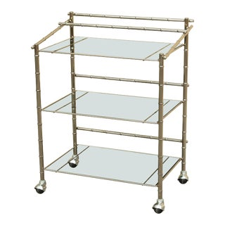 Mid Century Modern Chrome & Glass Bar Cart For Sale