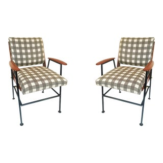 Midcentury Wood Brass and Steel Armchairs - a Pair For Sale