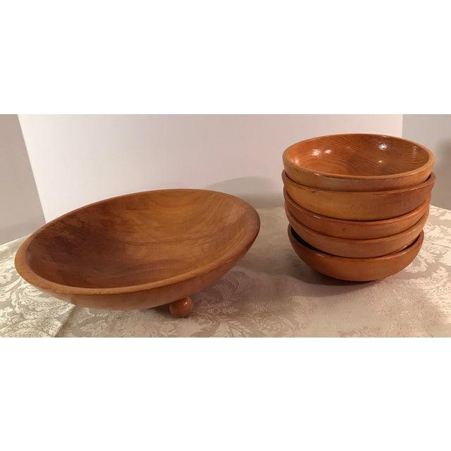 Mid-Century Modern Wooden Salad Bowls - Set of 7 - Image 10 of 11