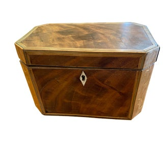 19th Century Antique Octagonal Wooden Tea Caddy For Sale