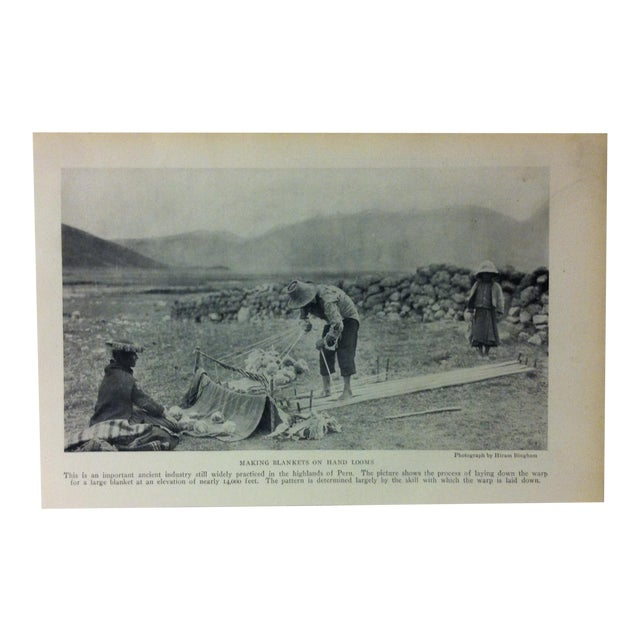 "Antique National Geographic Print ""Making Blankets on Hand Looms"" 1916 For Sale"