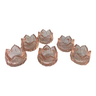Pink Depression Glass Lotus Salt Cellars- Set of 6 For Sale