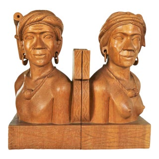 Pair Hand Carved Wood Tribal Figural Male and Female Bookends For Sale