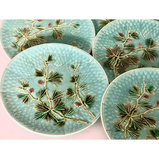 Turquoise Late 19th Century Antique French Majolica Turquoise Plates by Sarreguemines - Set of 10 For Sale - Image 8 of 11