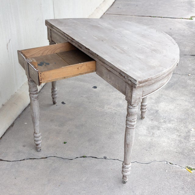 Wood Late 19th Century Antique French Demi-Lune Console For Sale - Image 7 of 13