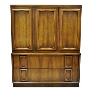 Vintage Mid Century Modern Sculpted Walnut Armoire For Sale