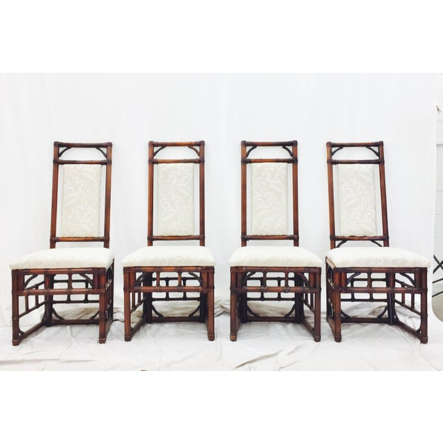 Vintage Bamboo & Rattan Dining Chairs - Set of 4 - Image 3 of 11