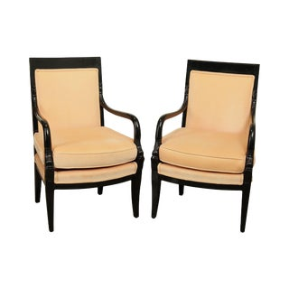 French Empire Style Vintage Ebonized Pair Armchairs by Fogle Masterpiece For Sale