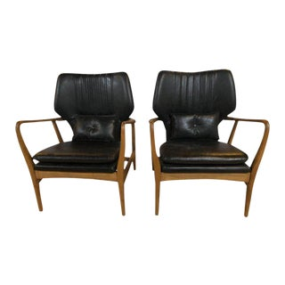 Mid Century Modern Style Arm Chairs With Black Leather Upholstery - a Pair