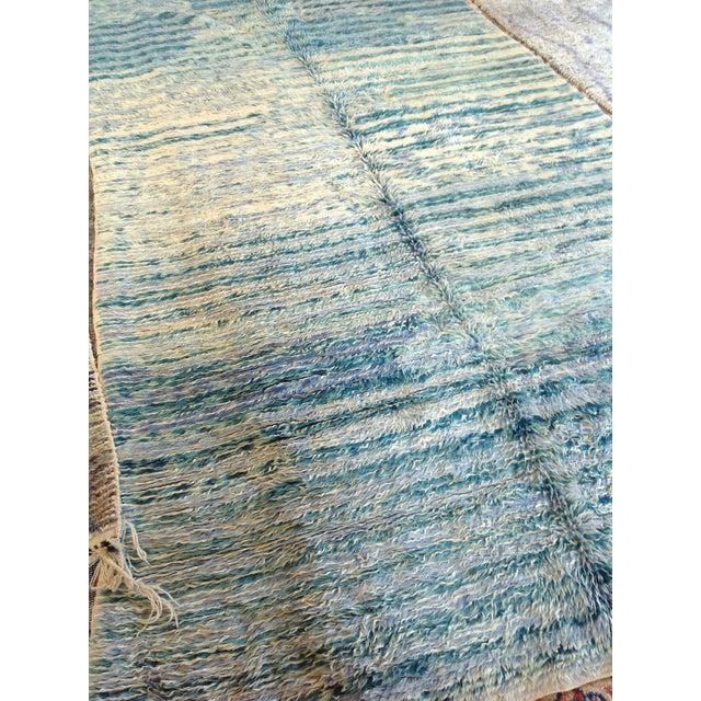 "Vintage Moroccan Aqua Berber Rug -- 5'2"" x 10'11"" - Image 8 of 9"