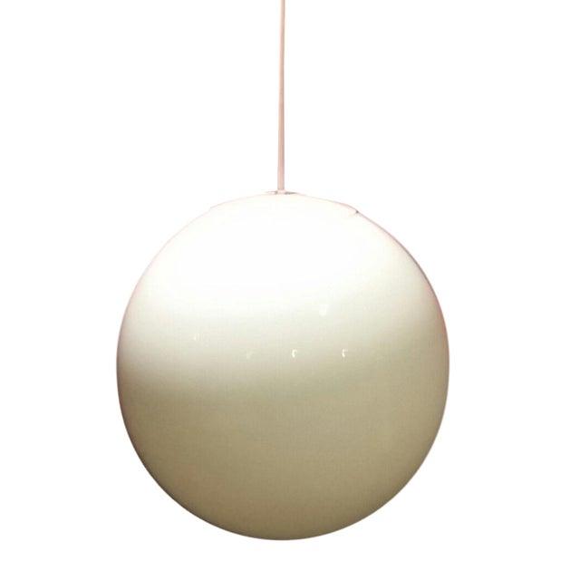 Mid-Century Round Milk Glass Globe Light - Image 1 of 6