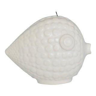 1990s Jonathan Adler White Porcelain Fish Christmas Ornament For Sale