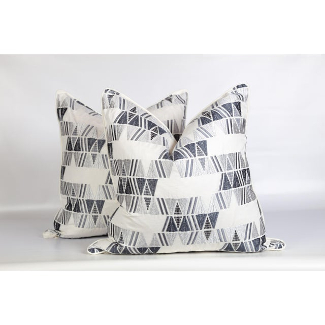 2020s Ivory Gray Aztec Embroidered Pillows, a Pair For Sale - Image 5 of 6