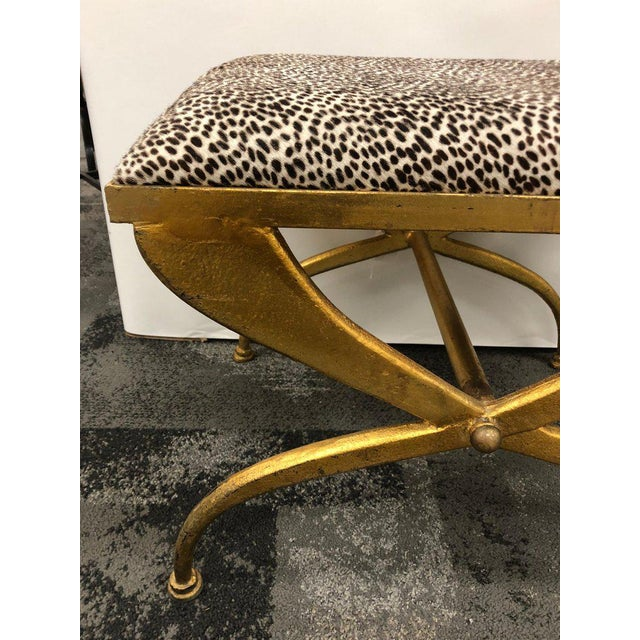 Maison Ramsay Mid-Century French Gilt Iron Bench by Maison Ramsay For Sale - Image 4 of 6