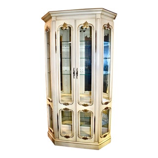 1950s Vintage French Provincial China Cabinet For Sale