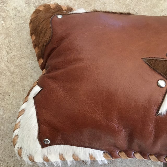 Handmade Leather & Cowhide Lumbar Texas Pillow For Sale - Image 4 of 11