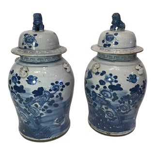 Blue and White Ginger Jars - a Pair For Sale