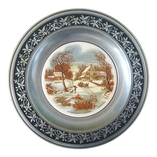 "Antique Currier and Ives ""Homestead in Winter"" Decorative Collector's Edition Plate For Sale"