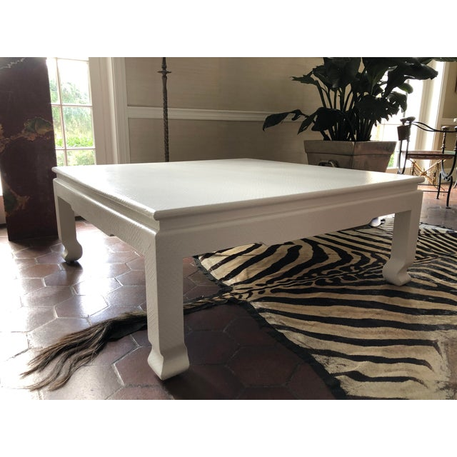Large Square Asian Modern Linen Wrapped Coffee Table in the Style of Karl Springer For Sale - Image 12 of 12