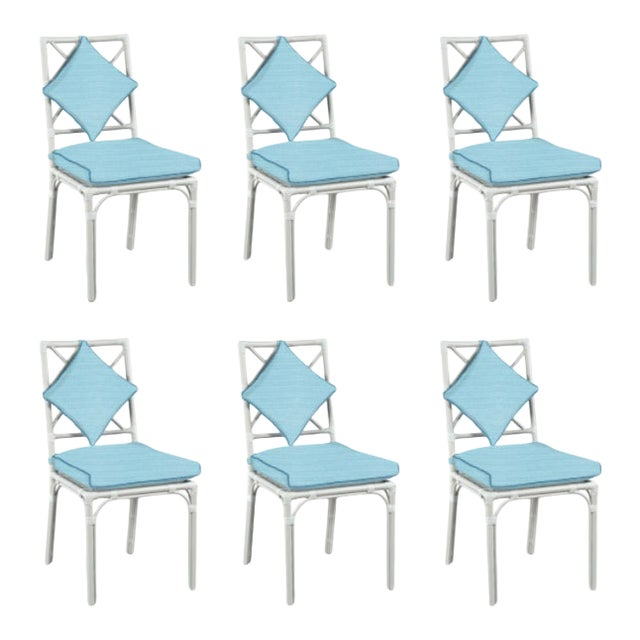 Haven Outdoor Dining Chairs, Canvas Mineral Blue with Canvas Sapphire Welt - Set of 6 For Sale