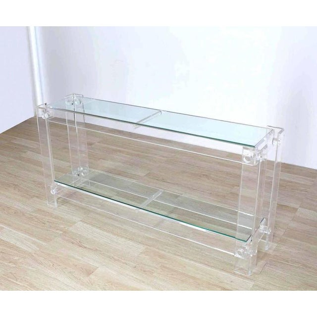 Transparent Three-Tier Long Lucite Console Table For Sale - Image 8 of 10