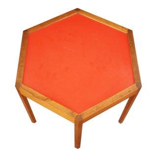 Vintage Hans C. Andersen Solid Teak Hexagonal End Table For Sale