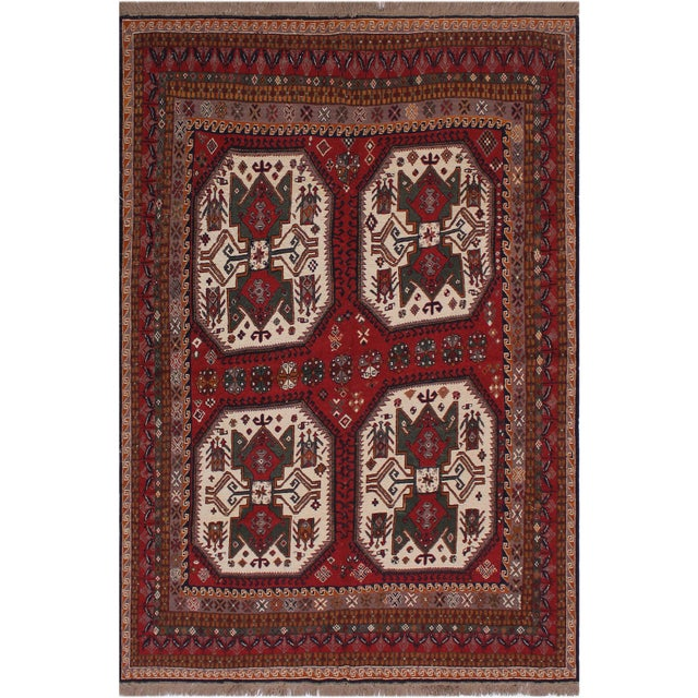 """Brick Red Antique Tribal Soumakh Sal Wool Rug - 6'2"""" X 8' For Sale - Image 8 of 9"""