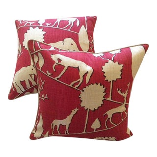 Jungle Walk in Cardinal Pillow Covers - a Pair For Sale