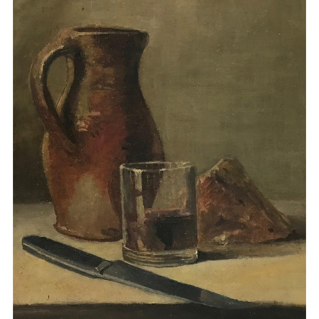 Traditional 20th C. Wine and Cheese Still Life Painting For Sale - Image 3 of 10