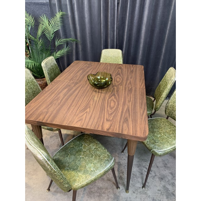 1960s Chromecraft Mid-Century Modern Green Upholstered Dinette Set - 7 Pieces For Sale - Image 5 of 11