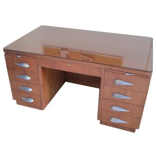 Rare Vintage Mid-Century Pedestal Desk For Sale