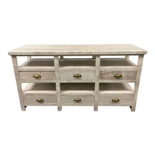 Rustic Style White Washed Wood Finish Console Table For Sale