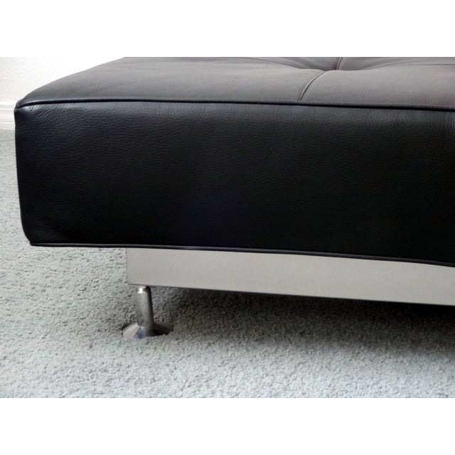 Edra Damier Italian Black Leather Sofa - Image 8 of 11