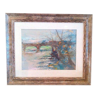 "1970s ""Winter Scene of Bridge"" Acrylic Painting on Board, Artist Signed For Sale"