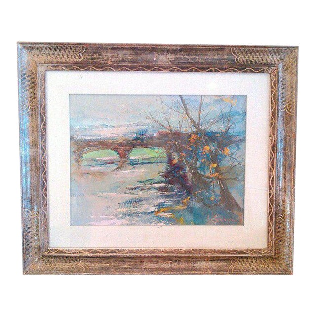 """1970s """"Winter Scene of Bridge"""" Acrylic Painting on Board, Artist Signed For Sale"""