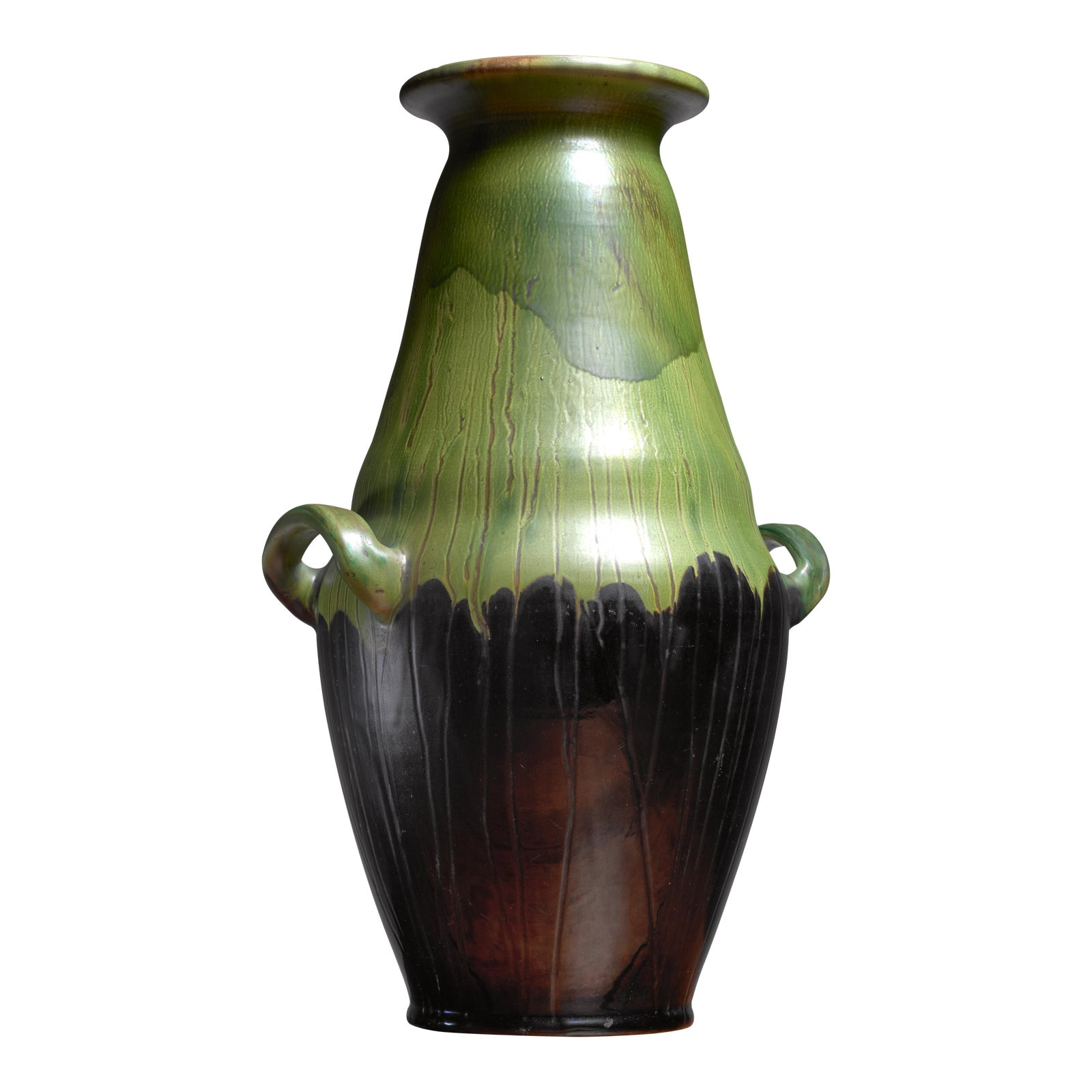 Superb Large Black And Green Ceramic Kahler Floor Vase, Denmark,
