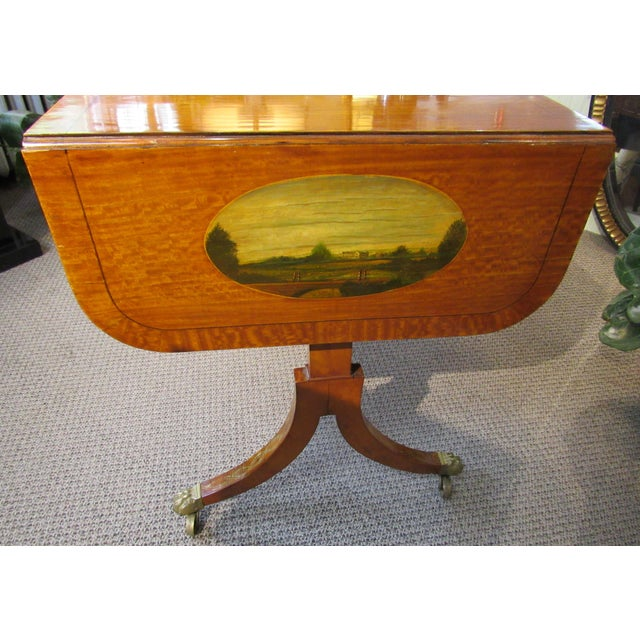 Late 19th Century 19th Century Adams Style Handpainted Satinwood Two Drawer Sofa Table For Sale - Image 5 of 13