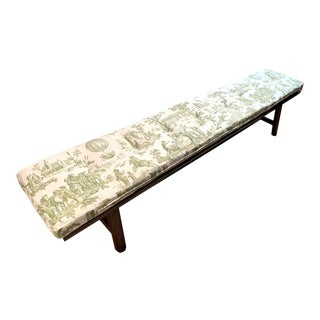 "108"" Long Hewn Wooden Rustic Bench With Antique Toile Cushion For Sale"