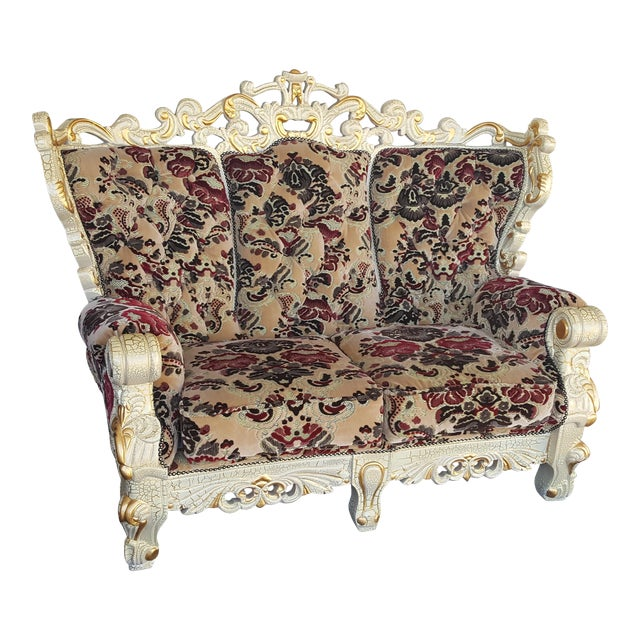 Vintage Victorian Velvet Settee - Detailed Carved Wood Frame Floral Velvet Loveseat / Large Chair - Image 1 of 4