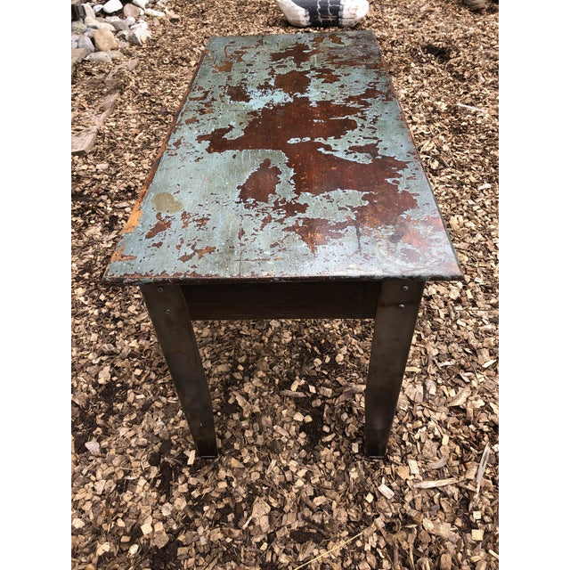 Metal Industrial Distressed Wood Table With Metal Legs For Sale - Image 7 of 13