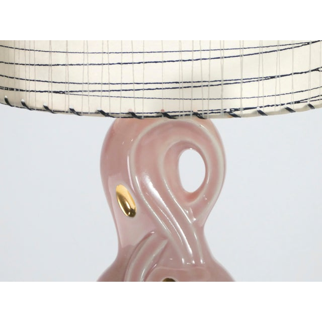 Ceramic Midcentury Pair of French Pink Ceramic Lamps, 1960s For Sale - Image 7 of 11