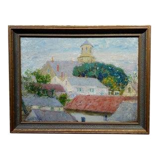 Pauline Lennards Palmer 1920s View of Roofs Tops in Provincetown,MA -Oil Painting For Sale